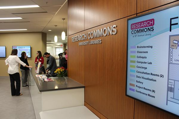 reception desk of the Research Commons