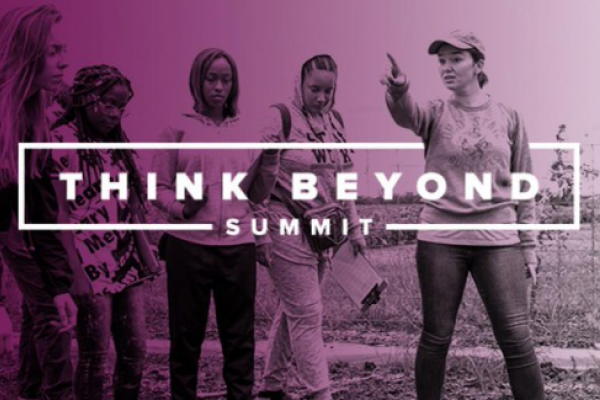 Think Beyond Summit banner displaying a woman pointing a group of four other women towards an unknown object